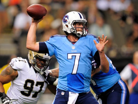 Titans quarterback Zach Mettenberger (7) throws a pass during the third quarter against the Saints at the Mercedes-Benz Superdome Friday Aug. 15, 2014, in New Orleans, La.