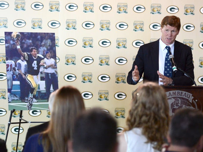 Green Bay Packers president/CEO Mark Murphy announces during a news conference at Lambeau Field on Monday, Aug. 4, 2014, that former Packers quarterback Brett Favre's name and No. 4 will be unveiled inside Lambeau Field during a game in the fall of 2015.