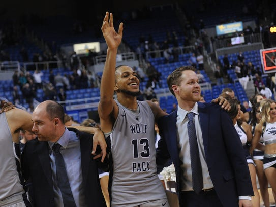 Hallice Cooke celebrates after Nevada's win over Boise