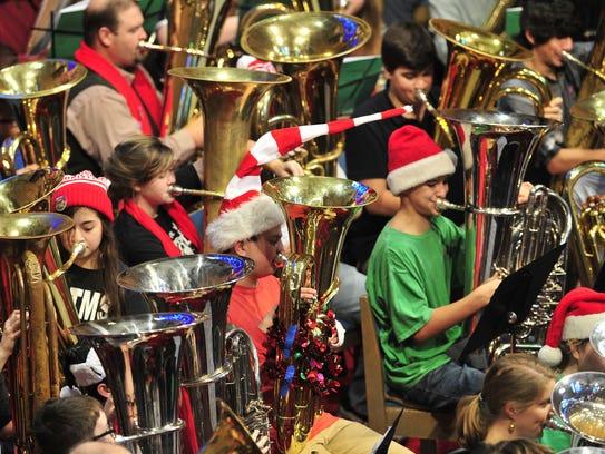 The annual Merry Tuba Christmas, with 100 tubas playing