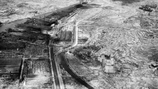In this Sept. 4, 1945 file photo, the remains of a factory are seen, upper left, in the southern Japanese city of Nagasaki, gutted by the Aug. 9 atomic bombing. On Aug. 6 and Aug. 9 in 1945, U.S. planes dropped two atomic bombs, one on Hiroshima and one on Nagasaki, the first and only time nuclear weapons have been used. Their destructive power was unprecedented, incinerating buildings and people, and leaving lifelong scars on survivors, not just physical but also psychological, and on the cities themselves.