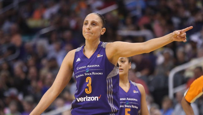 Mercury's Diana Taurasi (3) complains about a call during the first quarter against the Sky at Talking Stick Resort Arena in Phoenix, Ariz. on June 16, 2017.