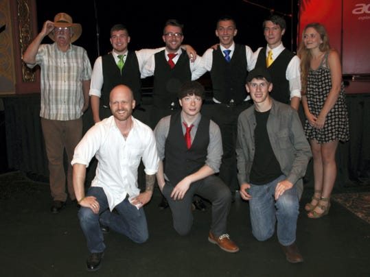 "The six semi-finalists from Saturday's ""A Capella & Unplugged"" musical contest are, back row, from left, Ray Owens, The Song Birds and Elise Stendal. Front row, John Felter, Drew Drach and Austin Poulson."