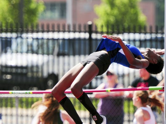 Waynesboro's Lilly Harnish easily clears the high jump on Saturday at the Mid Penn Conference Championships. Harnish finished by clearing 5-6 to earn a gold medal.