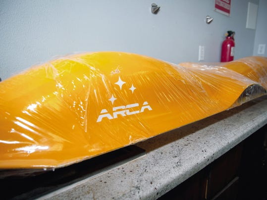 "Jett Loe---Sun-News   The body of an ARCA Space ""Scout"" drone, made of composite materials."