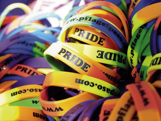 Bright pride bracelets were on sale on Saturday at Pioneer Women's Park during the Southern New Mexico Pride Festival.