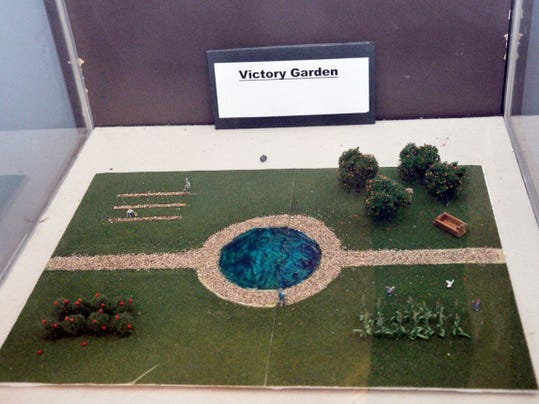 As part of their internship in the Belle Boyd House in Martinsburg, W.Va., Shepherd University students Alex Shanholtzer and Susan Crowell created a diorama of a victory garden, which was popular during World War II.