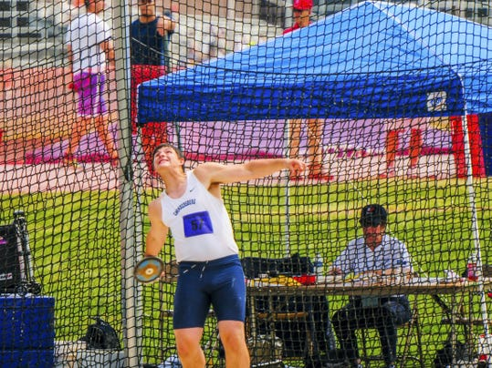 Chambersburg's Kelton Chastulik prepares to throw the discus on Friday at the District 3 Championships. Chastulik captured fourth place with a hurl of 149-4.