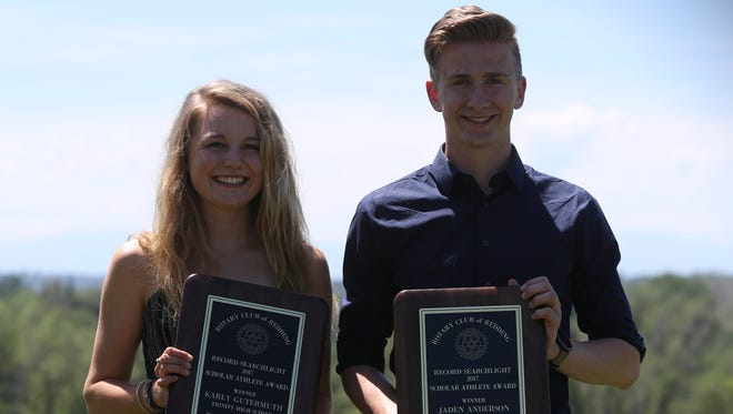 Trinity High School's Karly Gutermuth, left, and Mount Shasta High School's Jaden Anderson are this year's Record Searchlight's and Rotary Club of Redding's 2017 boys and girls Scholar-Athlete winners.