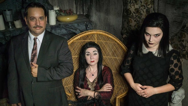 """From left, Michael Davis, Ivy Bott and Kathleen Clarke-Horrigan star in the upcoming production of """"The Addams Family at Footlite Musicals."""""""