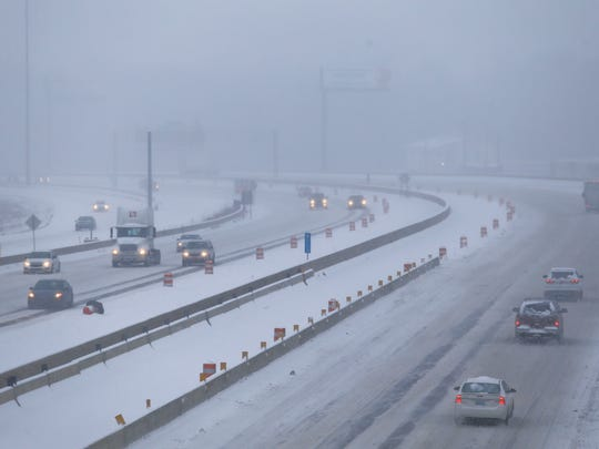 Traffic slowly moves on I-65 in Clarksville Wednesday