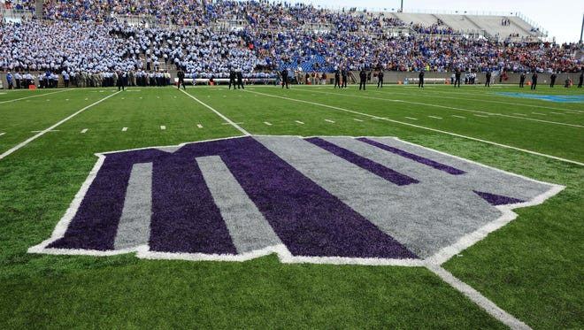 General view of the Mountain West banner on the field.