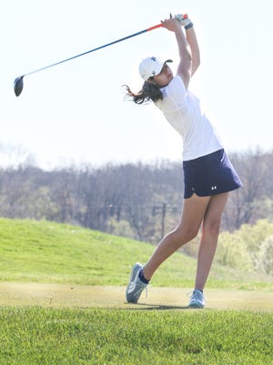 Pingry's Ami Gianchandani tees off during the Somerset County Golf Tournament at Neshanic Valley Golf Course on April 18, 2016.