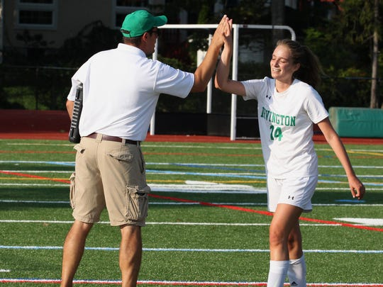 Irvington girls soccer head coach Pat DiBenedetto with