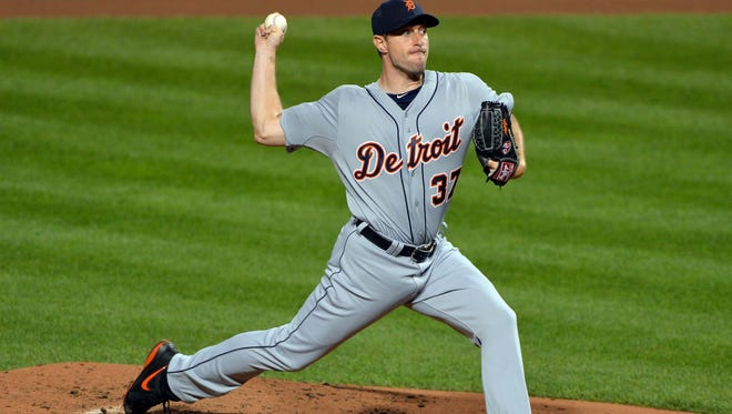 Tigers starting pitcher Max Scherzer on Oct. 2 during the ALDS against the Orioles.
