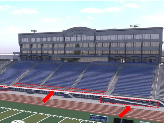 Where ADA seats were added last year under the original renovation.  People in wheelchairs could not see the field from these seats on the west side at Mackay Stadium. These seats have been torn down.