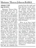 This is how the obituary for Marianne Theresa Johnson-Reddick appeared in the Reno Gazette-Journal.