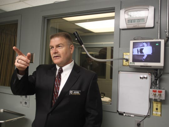 Jeff Premo, superintendent of the Oregon State Penitentiary, offers a tour of the execution room at the Salem, Ore., facility Friday, Nov. 18, 2011.