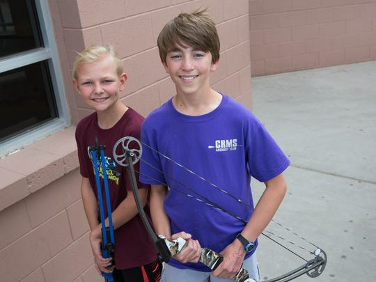 Jacob Estep,13, right, and Jaeton Monroe, 10, left, are two archery students from Camino Real Middle school and Sonoma Elementary School who are going to a National Archery competition, Thursday April 19, 2018.