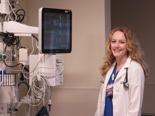 Kayla Burcker, a certified registered nurse practitioner, during a 12-hour shift at Waynesboro Hospital.