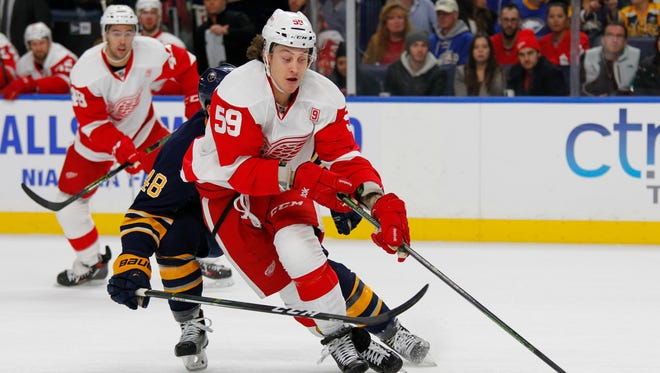 Detroit Red Wings forward Tyler Bertuzzi (59) skates during the first period of an NHL hockey game against the Buffalo Sabres, Wednesday, Nov. 23, 2016, in Buffalo, N.Y.