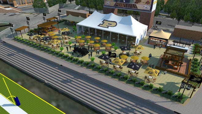 A rendering of the plans for the South End Zone Patio in Ross-Ade Stadium.