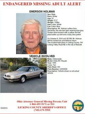 Ninety-one-year-old Emerson Holman is missing from Newark.