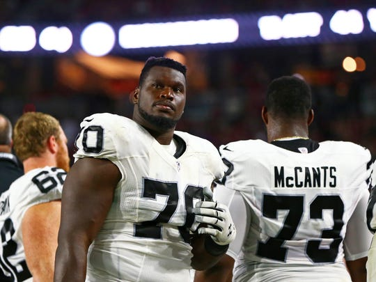 Aug 12, 2016; Glendale, AZ, USA; Oakland Raiders guard Kelechi Osemele (70) against the Arizona Cardinals during a preseason game at University of Phoenix Stadium. Mandatory Credit: Mark J. Rebilas-USA TODAY Sports