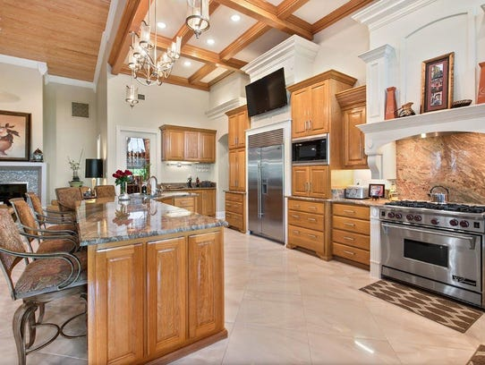 The gourmet kitchen is a chef's dream.