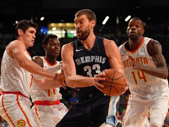 Grizzlies center Marc Gasol (33) controls the ball