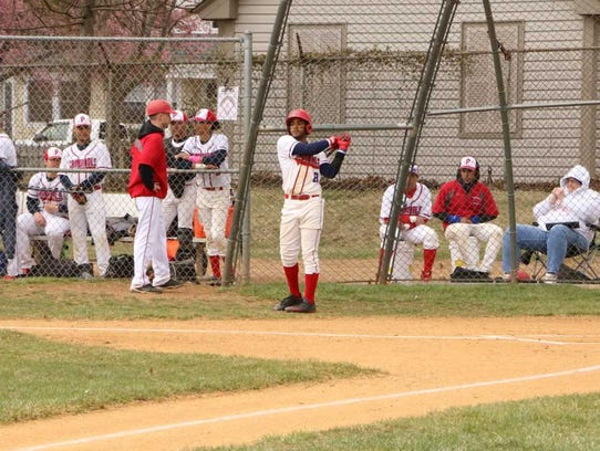 Plainfield's Waldy Arias takes a cut on deck.