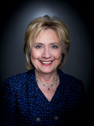 Democratic presidential candidate Hillary Clinton in the Register photo studio after meeting with the Des Moines Register editorial board Monday Jan 11, 2015, in Des Moines, Iowa.