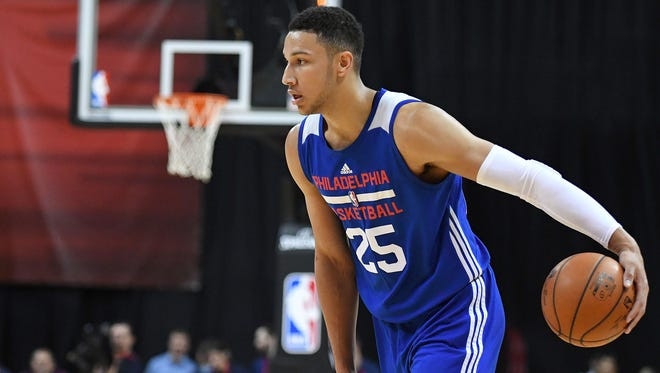 Philadelphia 76ers forward Ben Simmons (25) dribbles the ball during an NBA Summer League game against the Golden State Warriors at Thomas & Mack Center. Golden State won the game 85-77.