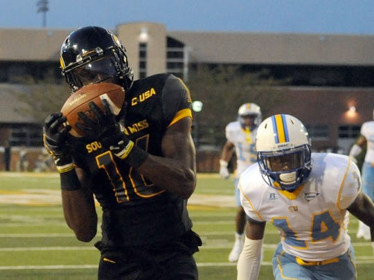 Southern Miss wide receiver Quez Watkins catches the