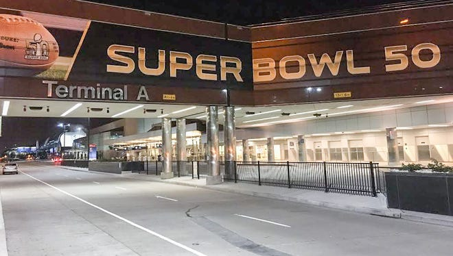 Passengers will find super-sized NFL graphics at Mineta San Jose International Airport.