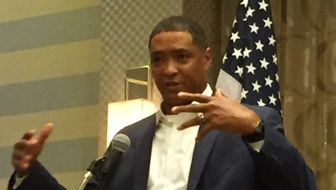 Rep. Cedric Richmond addresses Louisiana delegates at the Democratic National Convention in Philadelphia on Thursday.