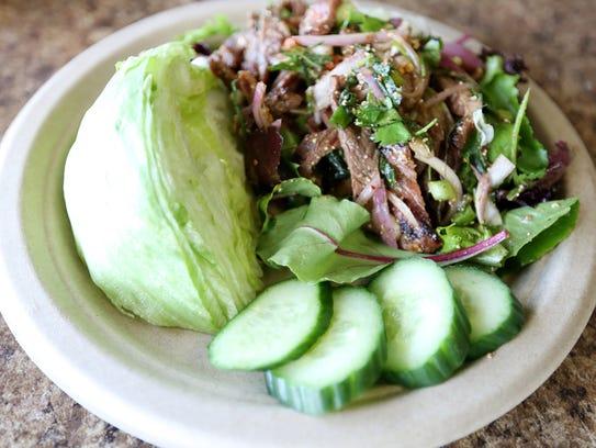Spicy Grilled Pork Salad ($12) at Big Blue Thai BBQ