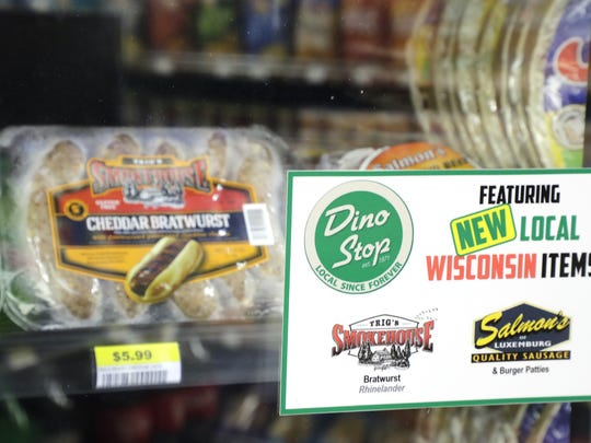 The Dino Stop convenience store on Lombardi Avenue stocks numerous grocery items including frozen meats from Wisconsin producers Tuesday, October 17, 2017 in Green Bay, Wis.