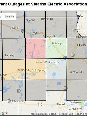 Part of Cold Spring , St. Joseph and surrounding areas were without power as of 11:30 a.m., Sunday, Oct. 15.