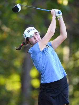 St. Joe's Carly Lyvers tees off during the Girls AAA State Golf Championship on Monday, October 24, 2016 at Carolina Springs Golf Club in Fountain Inn.