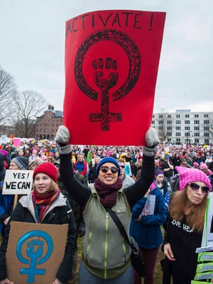 A crowd of several thousand listens to speeches during Women's March on Montpelier and Unity Rally at the Statehouse on Saturday, January 21, 2017.