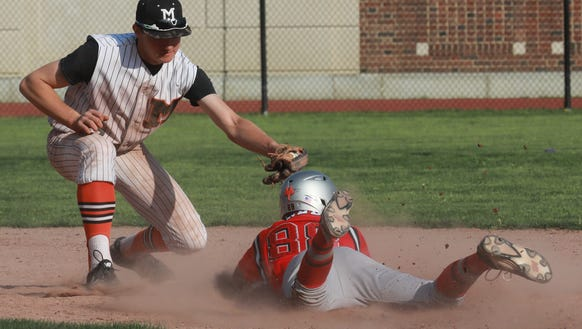 Fox Lane's Marvin Pineda (88) is tagged out at second