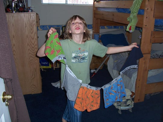 When Sawyer was 7, his mother sewed a stack of his underwear together on April Fool's Day.