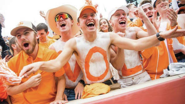 Tennessee fans cheer during the Vols' game last season with Mississippi State at Neyland Stadium in Knoxville.