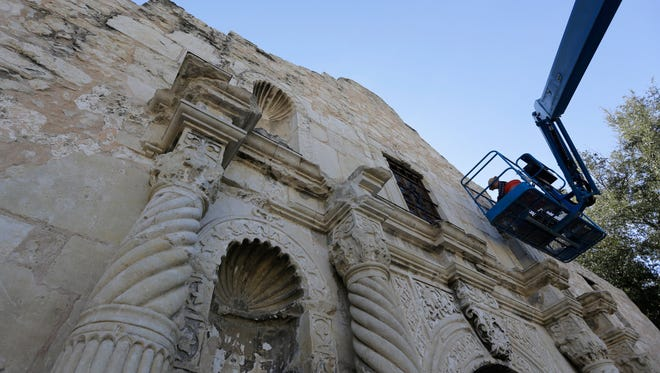 Master stone mason Miroslav Maler uses materials as close to the originals as possible to make repairs to the Alamo, Wednesday, Oct. 28, 2015, in San Antonio. The Alamo is undergoing $5 million in emergency repairs, part of a sweeping, state Legislature-approved $31.5 million makeover that may be one of the site's most-ambitious since the days of Davy Crockett.