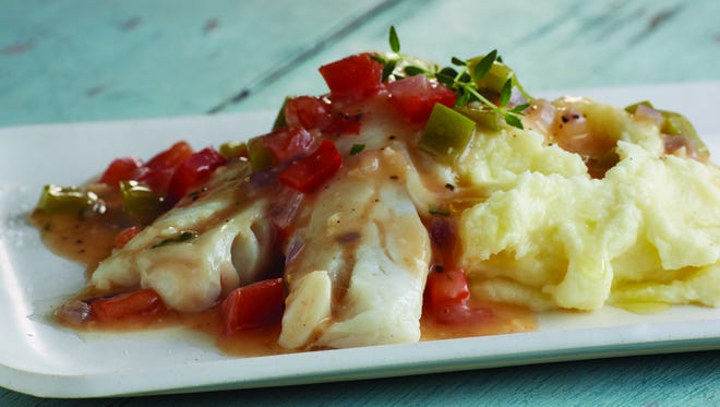 Smothered cod or pollock.
