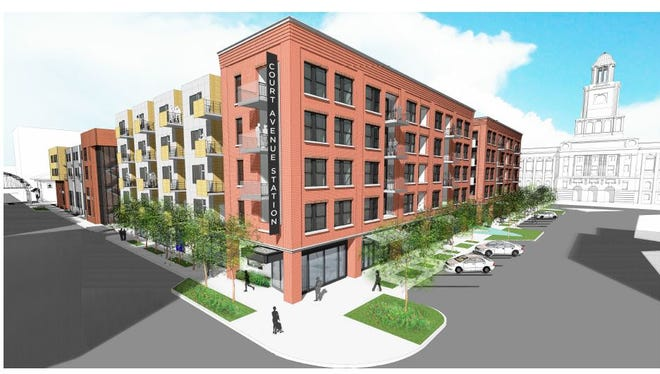 Hubbell Realty's proposed a mixed-use project would combine apartments, a parking garage, street-level storefronts and a public courtyard.