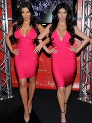 Kim Kardashian and her wax figure rocked Herve Leger's