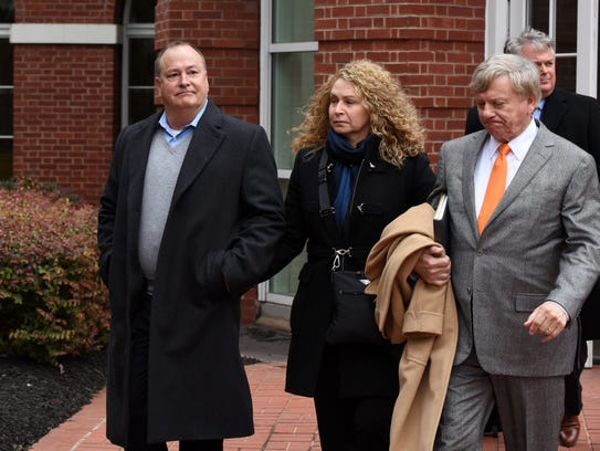 Former Pilot Flying J President Mark Hazelwood, left, leaves court after being arraigned Feb. 9, 2016, on charges including conspiracy to commit wire fraud and mail fraud as well as witness tampering.