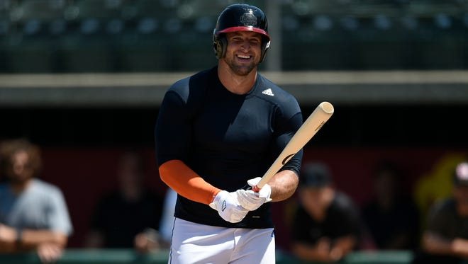 Tebow worked out in front of Major League Baseball teams on Aug. 30 in Los Angeles.